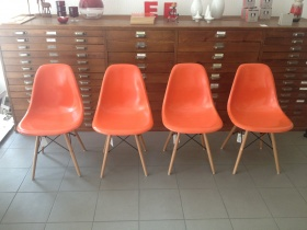 Fiberglas Side Chair DSW orange | Eames |1950