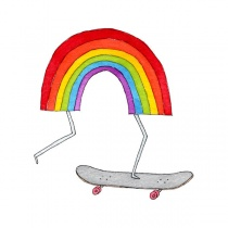 Tattly | Temporary Tattoos | Rainbow Skateboard